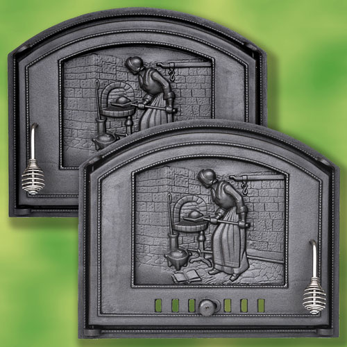 Porta per forno da pizza 485 x 410 in ghisa con b ckerfrau for Sportello per forno a legna