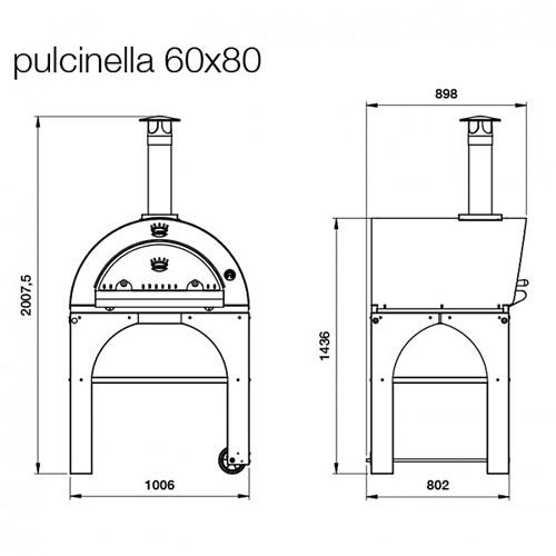 pizzaofen pulcinella 80x60 mobiler holzbackofen f r. Black Bedroom Furniture Sets. Home Design Ideas